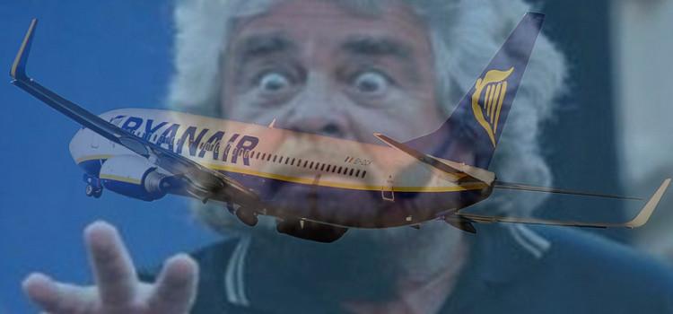 Annuncio (choc) di Ryanair che invita a votare Beppe Grillo