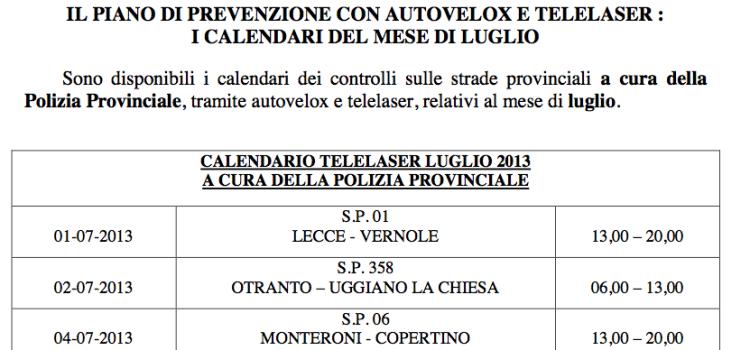 Autovelox provincia di Lecce (Salento) luglio 2013