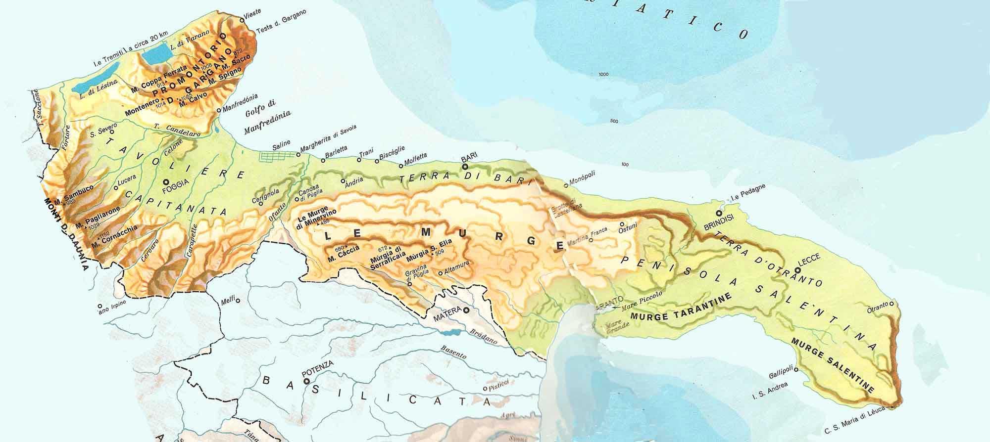 Cartina Geografica Della Puglia Fisica.Cartina Fisica Puglia Laterradipuglia It