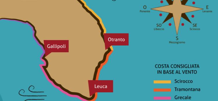 Quando e dove andare al mare nel Salento, in base al vento